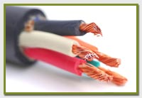 multi coloured copper wires coming out of a cable