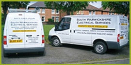 two south warwickshire electrical vans outside