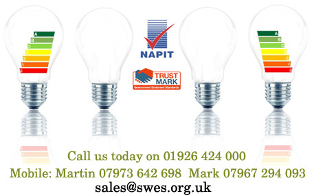 4 light bulbs with telephone numbers and NAPIT and TRUSTMARK logos
