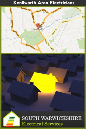 map of the kenilworth area - brightly lit house amongst houses with no lighting