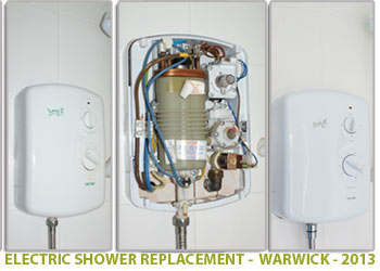 replacement of a faulty electric shower in warwick