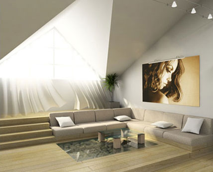 living room with light shining in